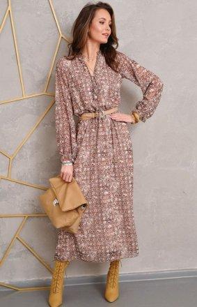 Wzorzysta sukienka midi Roco 0284/R23