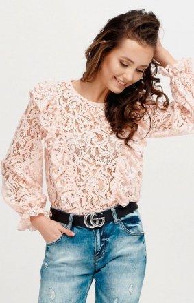 Koronkowa bluzka z falbankami różowa 060