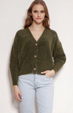 MKM SWE236 rozpinany sweter ciemny zielony