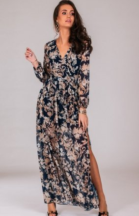 Długa sukienka w modny print 0219/D79