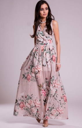Szyfonowa długa sukienka z rozporkiem D02