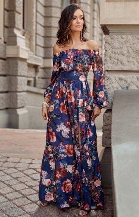 Elegancka długa sukienka w kwiaty 245/S61