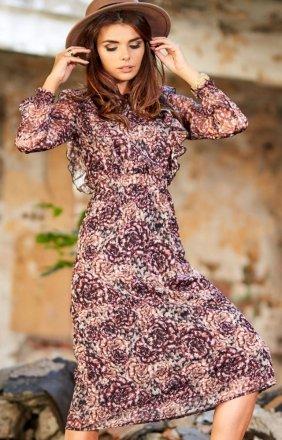 Zwiewna szyfonowa sukienka Awama A314