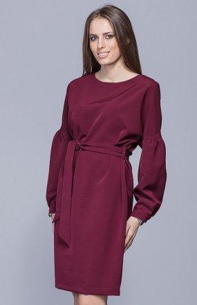 Harmony H028 sukienka bordowa