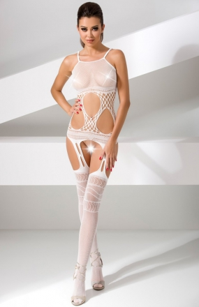 Passion BS047 bodystocking białe