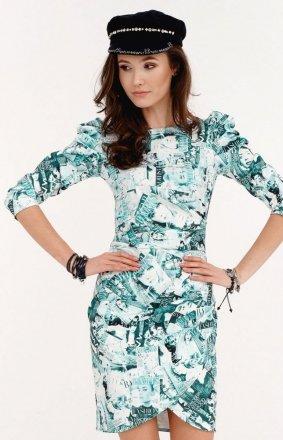 *Ołówkowa sukienka z bufkami gazetowy wzór miętowy 0279