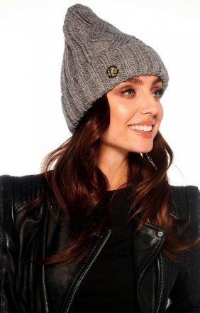 Klasyczna czapka na zimę jasnoszara LC112