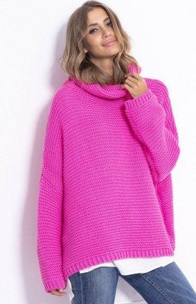 Oversizowy sweter z golfem Fobya F811 róż