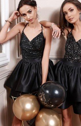 Wieczorowa sukienka czarne cekiny 271