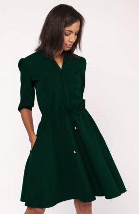 Sukienka o rozkloszowanym dole zielona SUK156