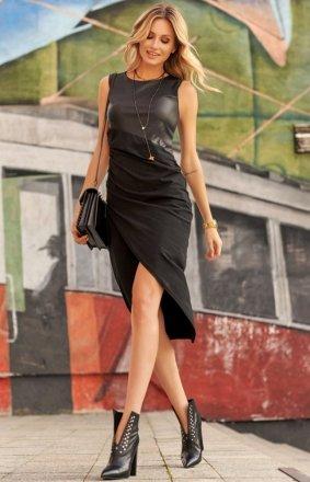 Asymetryczna sukienka midi czarna M524