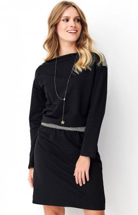 *Dzienna sukienka z ozdobną taśmą czarna NU267