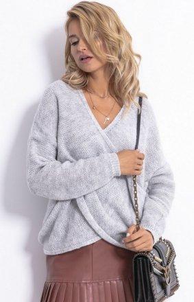 Sweter z kopertowym dekoltem szary F781