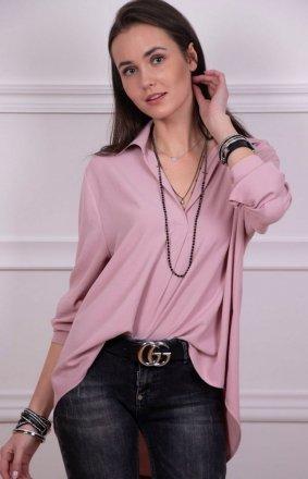 Oversizowa koszula damska różowa Roco 0051