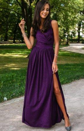 *Wieczorowa sukienka z brokatem śliwkowa 224