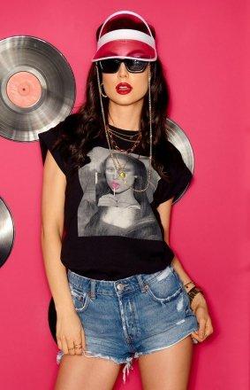 T-shirt damski z aplikacją Mona Lisa LG543