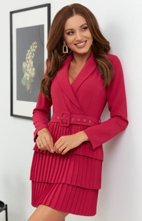 Kopertowa sukienka z plisowaniem wino