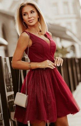 Elegancka bordowa błyszcząca sukienka 2228-10