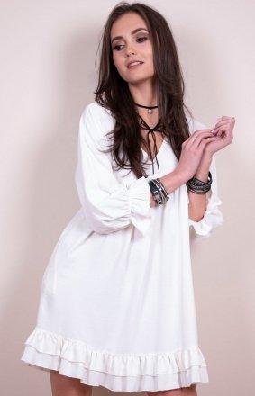 Sukienka z falbanami biała 0238