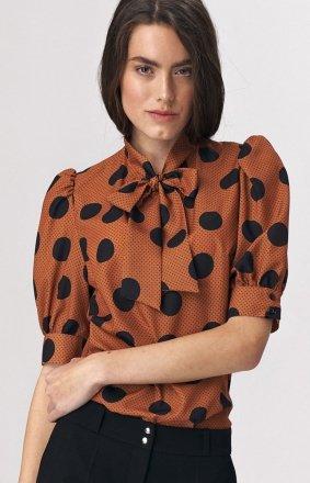 Elegancka bluzka z kokardą w grochy b111