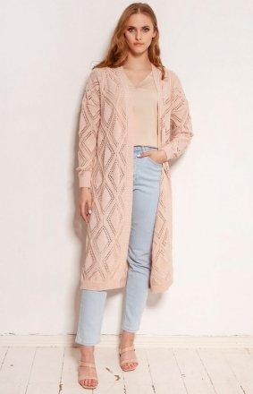 Długi ażurowy kardigan damski różowy SWE145