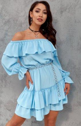 Kobieca sukienka hiszpanka błękitna 0297