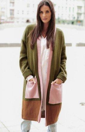 Długi trójkolorowy sweter kardigan khaki S70