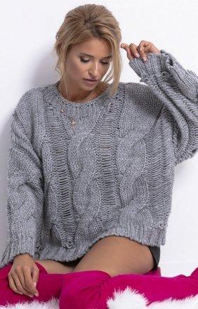 Ciepły oversizowy sweter szary F776