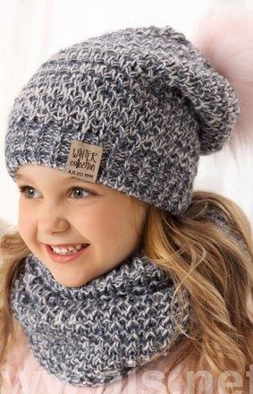 Dziewczęca czapka i komin AJS 38-502