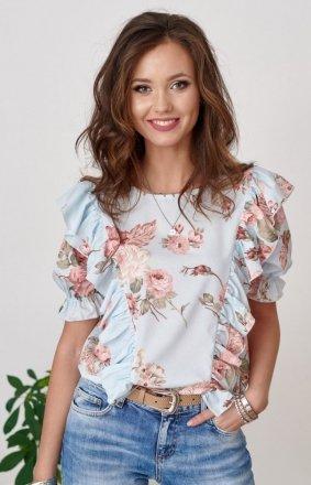 Stylowa bluzka niebieska w kolorowe kwiaty 0074