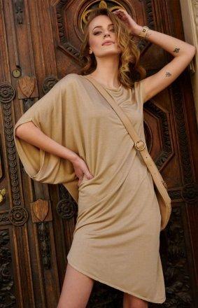Asymetryczna sukienka beżowa L10