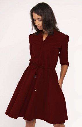 Sukienka o rozkloszowanym dole bordowa SUK156