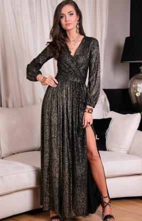 Roco 0227 wieczorowa sukienka ze złotym połyskiem