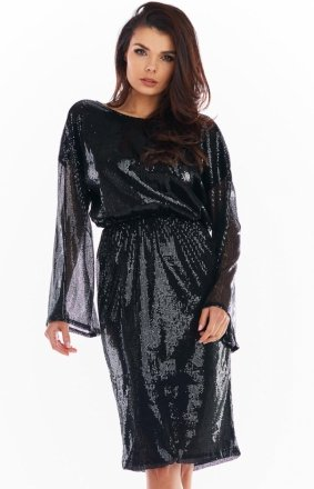 Cekinowa sukienka midi czarna A402
