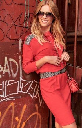 Dzienna sukienka z ozdobną taśmą czerwona NU267