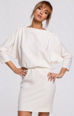 Dzianinowa sukienka z lampasami ecru M495