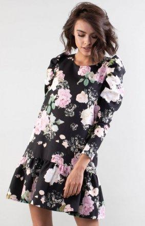 Luźna sukienka z falbanką w róże NA195LP