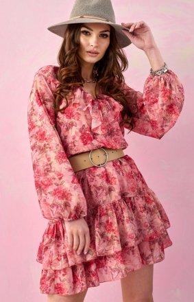 *Szyfonowa sukienka w kwiaty 0324/D97