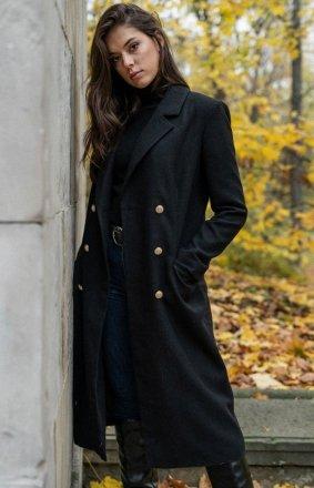 Czarny dwurzędowy płaszcz damski M681