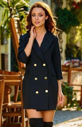 Garniturowa sukienka czarna L278