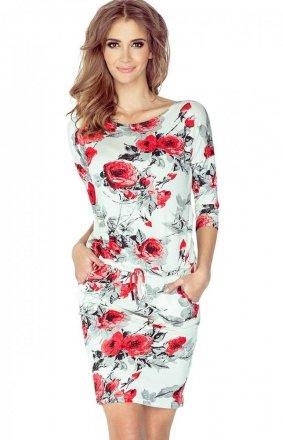 *Numoco 13-73 sukienka czerwone kwiaty