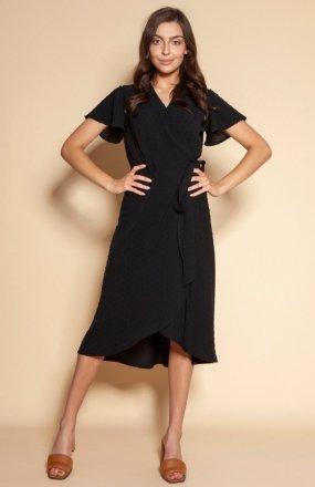 Kopertowa sukienka z asymetrycznym dołem czarna SUK198