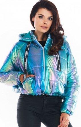 Pikowana kurtka holo blue Awama A388