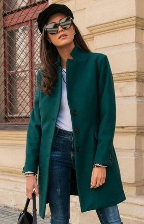 Wełniany płaszcz zielony Roco P012
