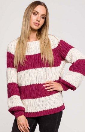Oversizowy sweter w pasy M632/3