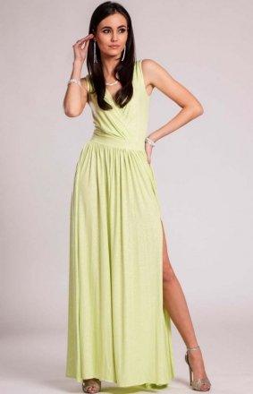 *Wieczorowa sukienka z brokatem pistacjowa 224
