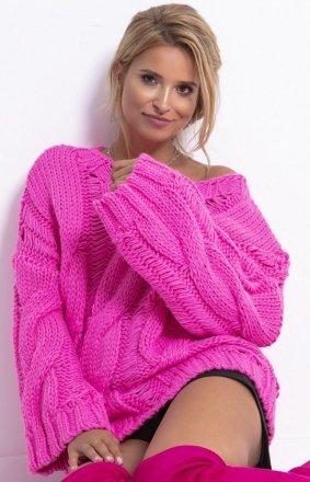 *Ciepły oversizowy sweter pink F776