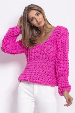 *Oversizowy sweter z grubym splotem różowy F760