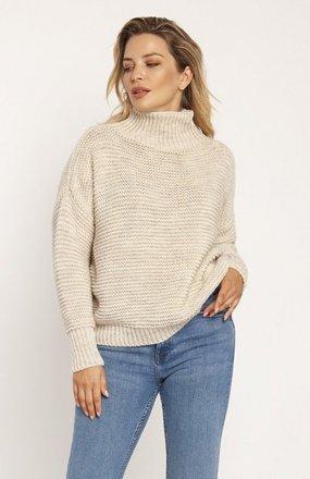MKM SWE246 żebrowany sweter z golfem beżowy