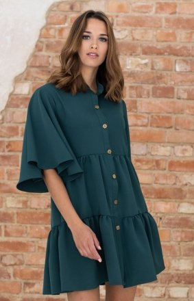 Modna sukienka babydoll zielona LP279